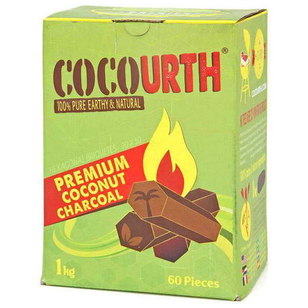 CocoUrth Organic Coconut Charcoal (60 Pieces -Hex)