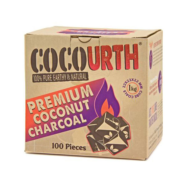 CocoUrth Organic Coconut Charcoal (100 Pieces -Mini Cubes)