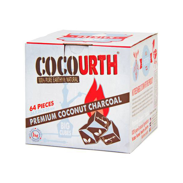 CocoUrth Organic Coconut Charcoal (64 Pieces -Big Cubes)